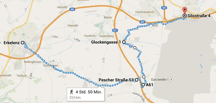 Die Route vom 5.10.2014 - Von Erkelenz über Immerath durch Borschemich nach Jüchen.