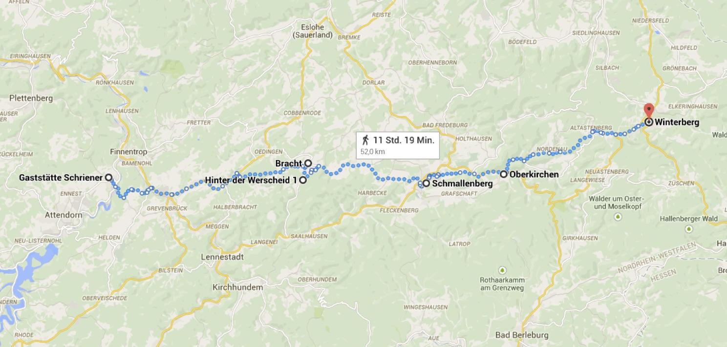 Die Route unserer vierten Etappe.